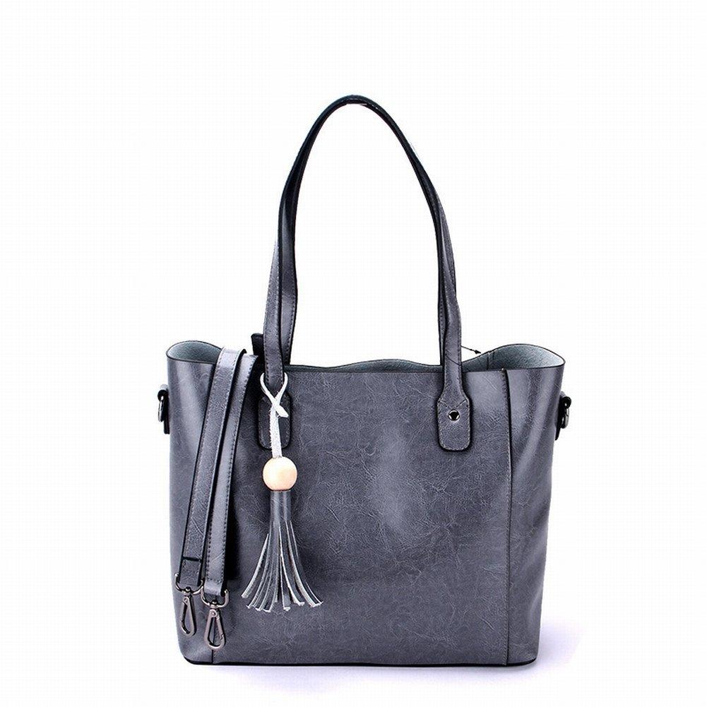 Ölwachs Handtasche Handtasche Schulter Diagonal Handtaschen , dunkelgrau
