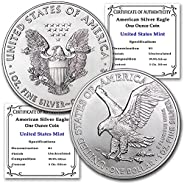 2021 Set of (2) 1 oz Silver American Eagle Coins (Type 1 & Type 2) Brilliant Uncirculated with Certificate