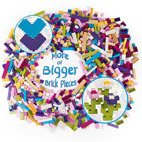 Lego Friends Party Favors (SCS Direct Building Bricks - 1000 Pc Big Bag of Bricks Bulk Pastel Friends-Colored Blocks with 54 Roof Pieces - Tight Fit with All Major)