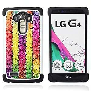 BullDog Case - FOR/LG G4 H815 H810 F500L / - / COLORFUL POLYGON LINES 3D ELECTRONIC /- H??brido Heavy Duty caja del tel??fono protector din??mico - silicona suave