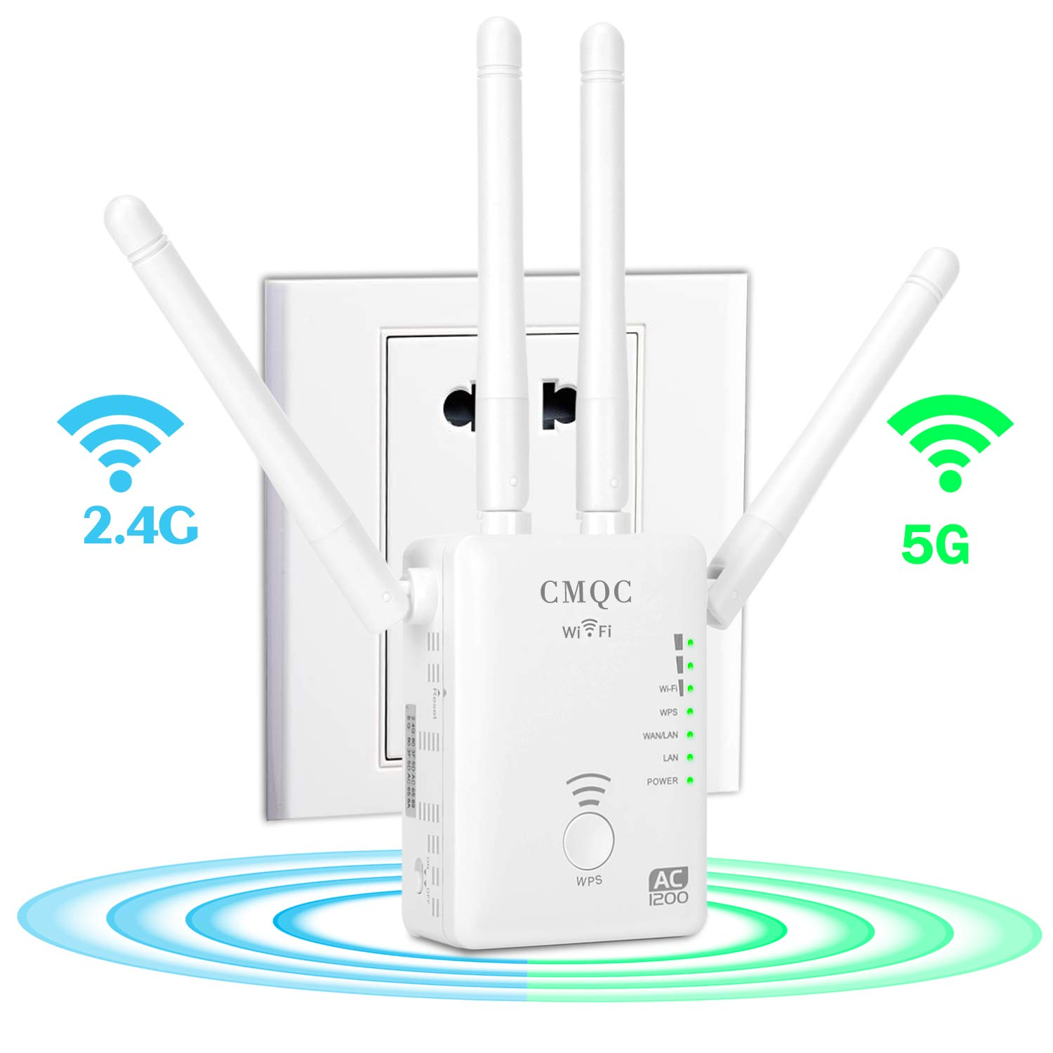 WiFi Extender - AC1200 Dual Band WiFi Repeater | 2.4G and 5G Mini Wi-Fi Signal Booster | Wireless Access Point with 4 Ethernet Antennas to Eliminate Dead Zones