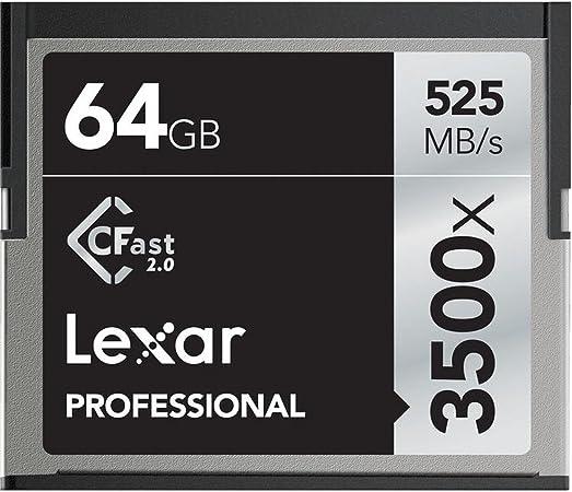 Lexar lc64gcrbeu3500Professional 3500X (525mb/S) Pro CFast CompactFlash Tarjeta de Memoria, 64GB, Negro