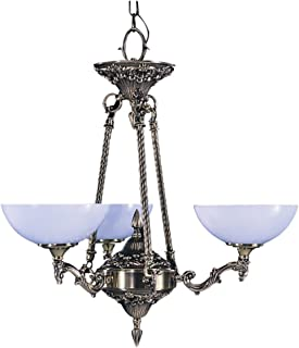 product image for Framburg 8403 FB 3-Light Napoleonic Dinette Chandelier, French Brass