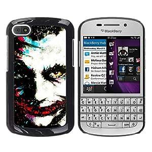 Caucho caso de Shell duro de la cubierta de accesorios de protección BY RAYDREAMMM - BlackBerry Q10 - Greepy Clown Monster Villain White Face