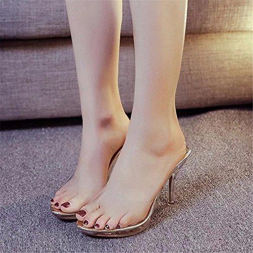 Bocca Hxvu56546 Spesse Donna E Ammenda Pantofole Fresca Cristallo Alto Sandali Con Asolati Gold Pesce Nuova Estate Di Tacco 4qAxrC4wa