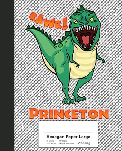 Hexagon Paper Large: PRINCETON Dinosaur Rawr T-Rex Notebook (Weezag Hexagon Paper Large Notebook)
