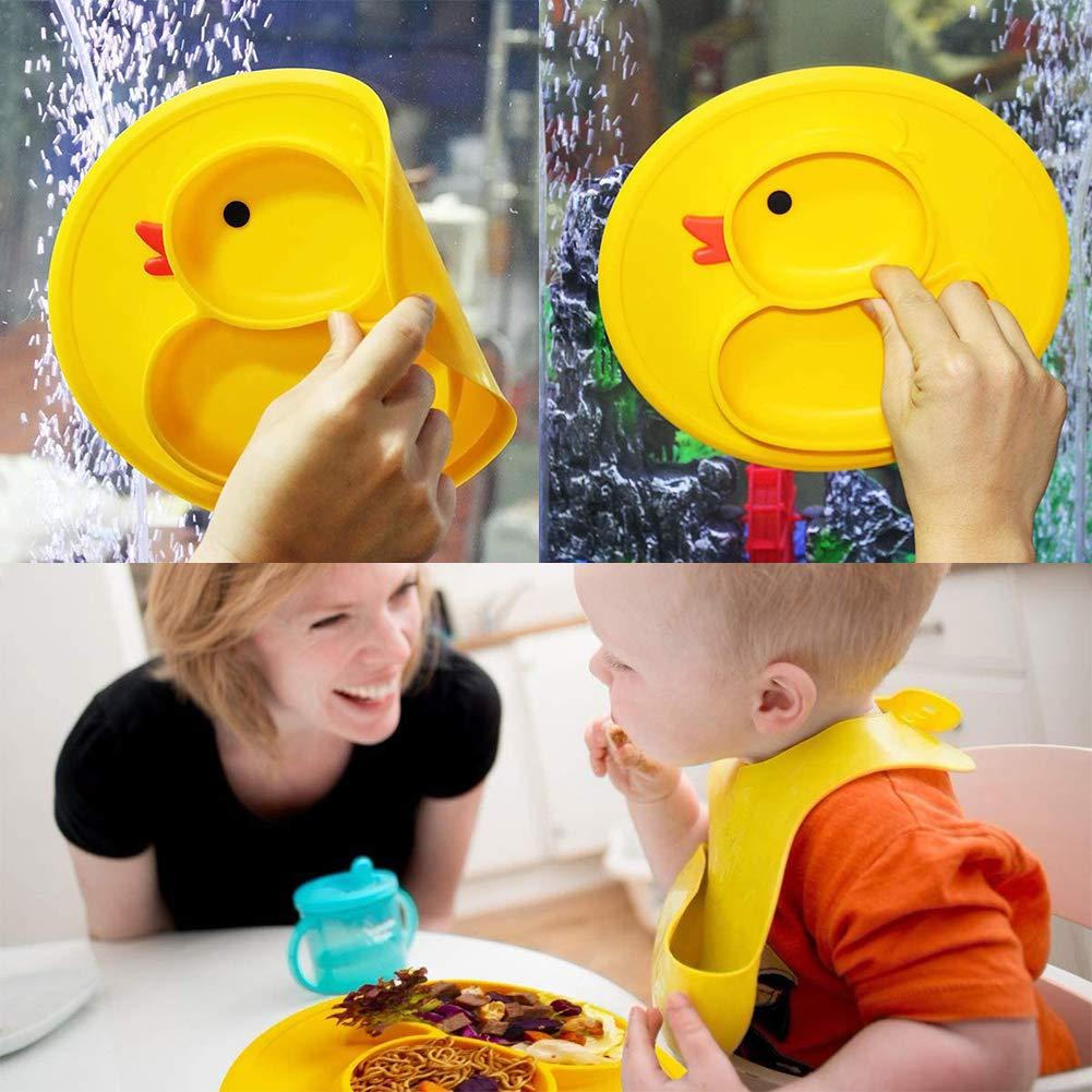 Sp/ülmaschinen-und mikrowellengeeignet BETOY Baby Teller Rutschfeste Saugf/ütterungsplatte f/ür Kleinkinder Babys Kinder Tischset mit Saugn/äpfen BPA-frei Gelbe Ente