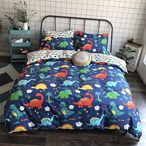 CLOTHKNOW Dinosaur Bedding Duvet Cover Sets Full/Queen Boys 100 Cotton Set of 3-1 Duvet Cover with Zipper 2 Envelope Pillowcases (Dinosaur Cover)