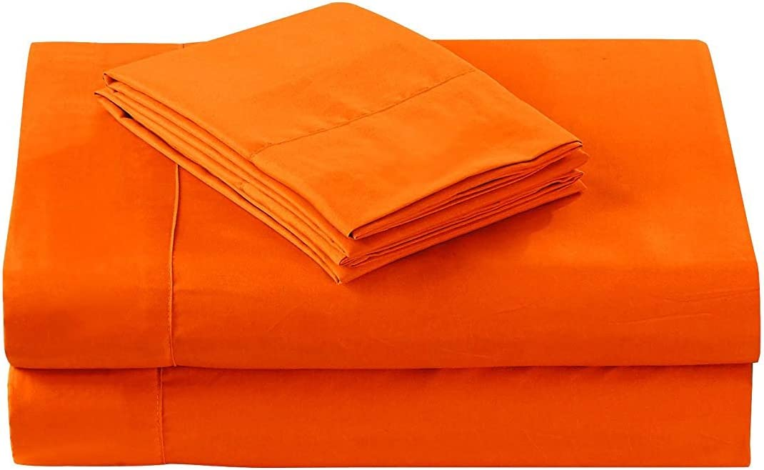 Adjustable King Bed Sheets 5 PCs Sheet Set Orange Solid Perfect Fit Heavy Wight Egyptian Cotton Sheet Set -10 Inches Deep Pocket (Split-King)