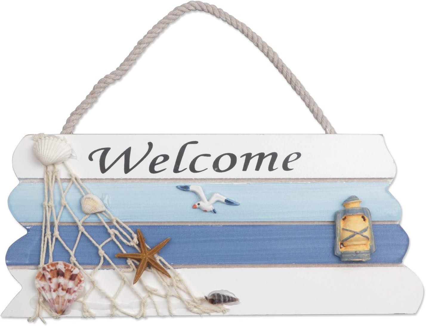 S Panneau de bienvenue en bois suspendu Style de plage pour porte Panneau mural de bienvenue suspendu suspendu Panneau pour bateau de plage Oc/éan Bord de mer Th/ème Plaque Ornements Porte de maison