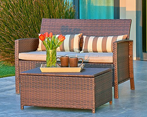 Suncrown Outdoor Modular Furniture Wicker Love-seat with Coffee Table (2-Piece Set) Built-in Storage Bin | Comfortable, All-Weather Cushions | Patio, Backyard, Porch, Garden, Poolside