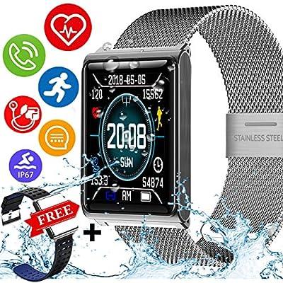 Kidaily IP68 Waterproof Sport Fitness Tracker – Smart Watch Men Women Heart Rate Blood Pressure Sleep Monitor Calorie Pedometer Smart Bracelet Outdoor Swim Run Tracker