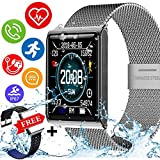 IP67 Waterproof Fitness Tracker Smartwatch with FREE Replaceable Band Swimming Heart Rate Blood Pressure Sleep Monitor Tracker Pedometer Outdoor Sport Bracelet Birthday Gift for Men Women