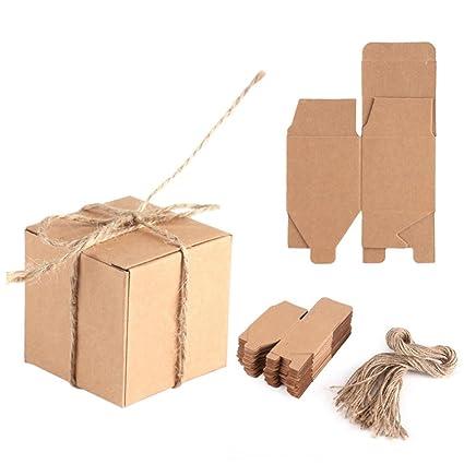 8ea6adae0 Haofy 50 Piezas Bolsas de Regalo, Cajas de Papel Kraft Cajas de Dulces de  Regalo