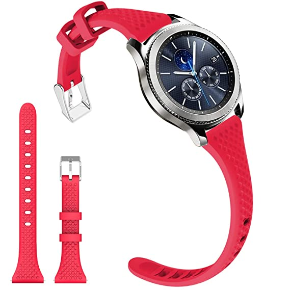 Gear S3 Bands, Soft Silicone Watch Bands for Women 22mm Rubber Watch Strap with Stainless Steel Buckle Super Narrow Replacement Wristband for Samsung ...