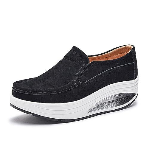 Gracosy Mocasines Slip On con Plataforma Para Mujer Mocasines con Suela Comfort Mocasines Rocker con Formas Suaves Zapatillas Altas con Cuña Bajo Anchas: ...