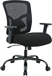 Big & Tall Office Chair Heavy Duty 400LBS Computer Desk Chair Ergonomic High Back Task Rolling Swivel Mesh Chair with Lumbar Support & Adjustable Armrest Modern Black Executive Chair for Women Men