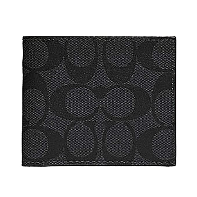 52ed0a4794fe Image Unavailable. Image not available for. Color  Coach ID Billfold Wallet  In Signature Canvas Charcoal Black