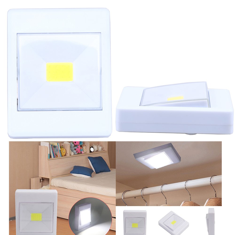 LED COB luces de noche, goodchanceuk 2-Pack Interruptor inalámbrico Closet Luz 5 W lámpara de pared 3 x AAA funciona con pilas (batería no incluye): ...