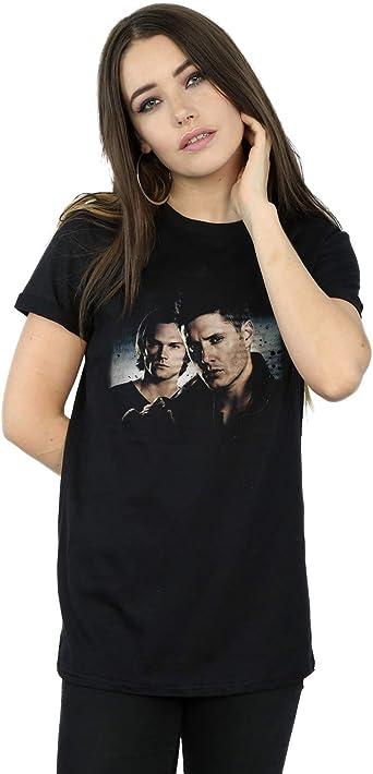Supernatural Mujer Sam and Dean Poster Camiseta del Novio Fit