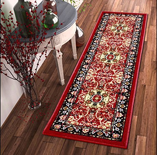 Heriz Persian Rugs Carpets - Luxury Carpets Collection Persian Heriz Oriental Traditional Design Rubber-Backed Non-Slip Non-Skid Area Rugs, Red, 2' x 7'