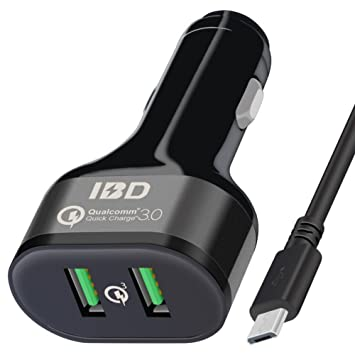 5V//2.4A Port and USB 3.0 Port Power Adapter Powerdrive Dual USB Car Charger for Android Phone IBD Car Charger with Micro Cable