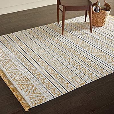 """Amazon Brand – Rivet Contemporary Geometric Area Rug, 10' 6"""" x 7' 10"""", Fringed, Yellow - Geometric patterns against an ivory background will bring a modern global flair to your home. Offered in a variety of colors that will blend with most any room, the soft, low-pile design is accented by light fringe. 10' 6"""" x 7' 10"""" Medium-high pile is soft and easy to clean - living-room-soft-furnishings, living-room, area-rugs - 61j9E20gf8L. SS400  -"""