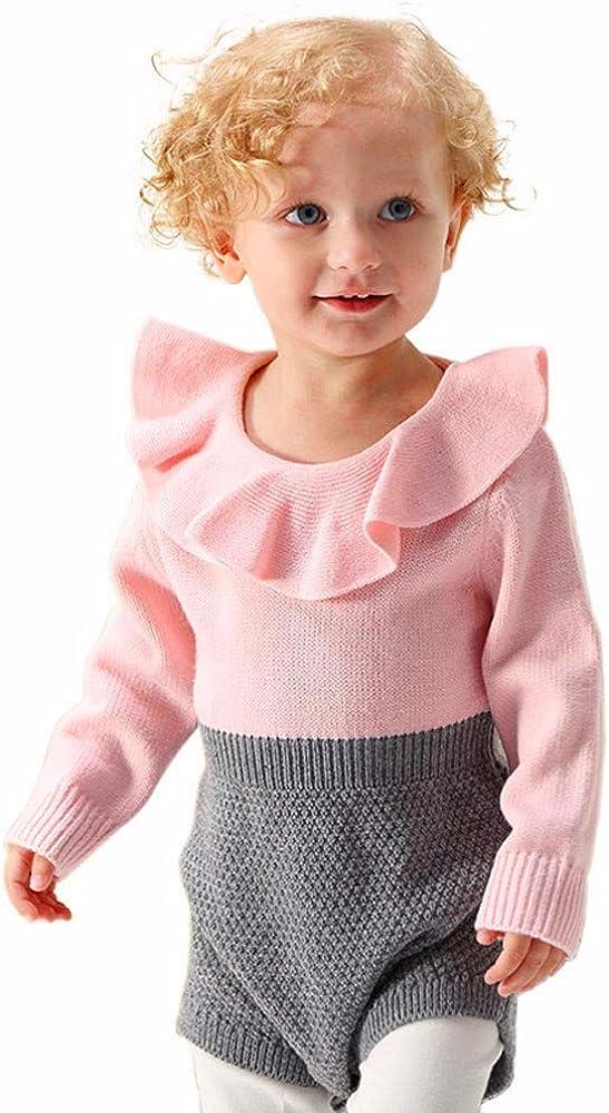 MAYOGO Ropa de Bebé Crochet Mameluco Manga Larga Bodis Ropa bebé Body con Volantes Bebé Niña