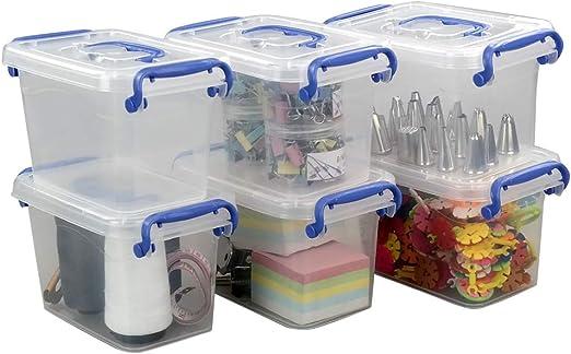 Eudokky 1.8L Caja de Almacenamiento de Plástico con Tapas, Conjunto de 6 Caja de Ordenación: Amazon.es: Hogar