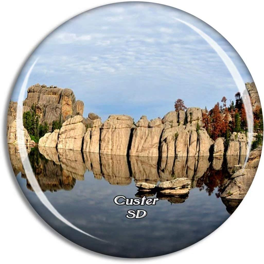 Custer State Park Sylvan Lake South Dakota USA Magnet Travel Souvenir 3D Crystal Glass Collection Gift Refrigerator Sticker