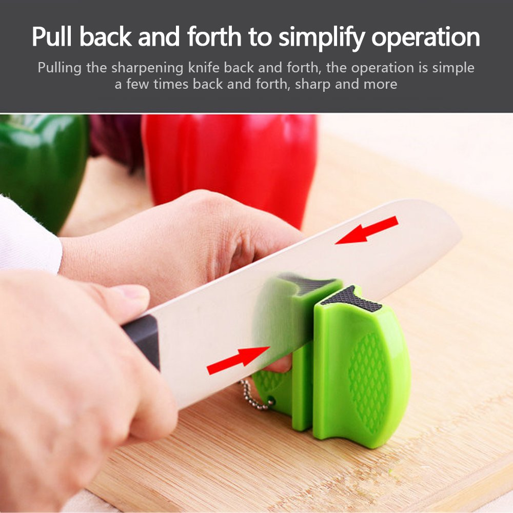 GerTong 1PC Manual Knife Sharpener, Non-Slip Professional Butterfly Knives Sharpener Mini Tungsten Steel Camp Coarse and Fine 2-in-1 Self-Adjustable System Sharpening Tool (Black) by GerTong (Image #5)
