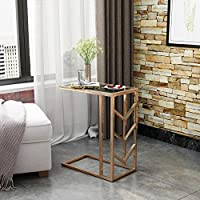 Hillary Glam Tempered Glass Side Table with Rose Gold Finished Stainless Steel Frame