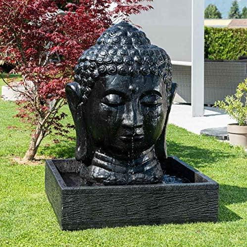 Wanda collection Fuente de jardín Rostro de Buda 1, 30 m Negro ...