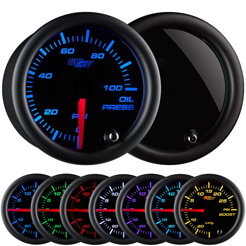GlowShift Tinted 7 Color 100 PSI Oil Pressure Gauge Kit - Includes Electronic Sensor - Black Dial - Smoked Lens - For Car & Truck - 2-1/16'' 52mm by GlowShift