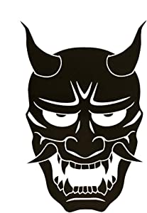 Hannya Mask Japanese Jealous Female Demon Decal Vinyl Sticker|Cars Trucks Vans Walls Laptop| Black |5.6 x 3.8 in|DUC237