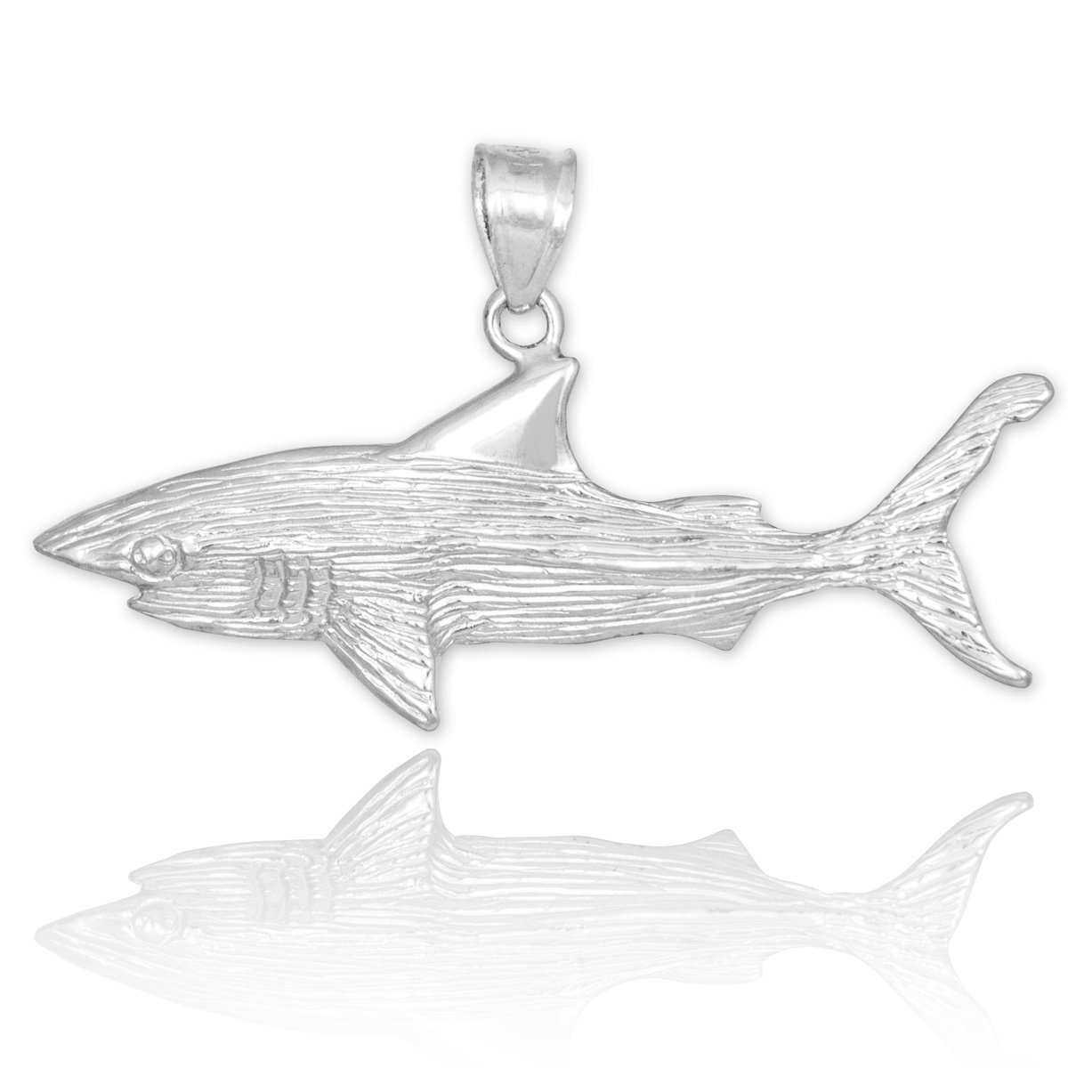 Sea Life Collection Sterling Silver Textured Charm Great White Shark Pendant