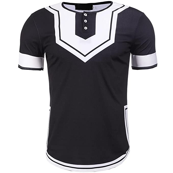 912f9f35e6f10 iHPH7 Mens Blouse Casual Printed Button Short Sleeve T-Shirt Pullover Tops  at Amazon Men's Clothing store: