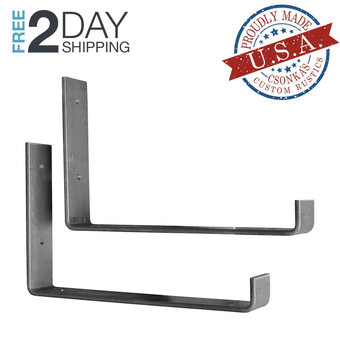 "2 Pack - 9.25""L x 6""H Hook Brackets, Hook Iron Shelf Brackets, J Bracket, Metal Shelf Bracket, Industrial Shelf Bracket, Modern Shelf Bracket 61j9HX2BXOvL"