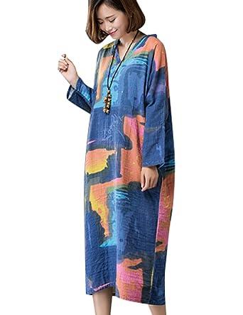 Yesno Ab7 Women Long Dress Autumn Plus Size Colorful Double Layer