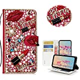 STENES LG G6 Case, LG G6 Plus Case - STYLISH - 3D Handmade Crystal Girls Lipstick High Heel Flowers Wallet Credit Card Slots Fold Stand Leather Cover Case for LG G6/LG G6 Plus - Red