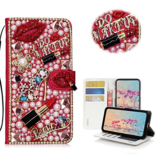 STENES Galaxy J3 Prime Case, Galaxy J3 Emerge Case - STYLISH - 3D Handmade Crystal Girls Lipstick High Heel Flowers Wallet Credit Card Slots Fold Stand Leather Cover Case - ()