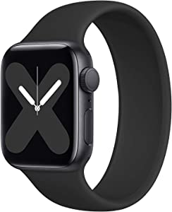 Rain gold Stretchy Solo Loop Strap Compatible with Apple Watch Band 42mm 44mm, No Clasps or Buckles Sport Elastics Silicone Women Men Replacement Wristband for iWatch Series 6/SE/5/4/3/2/1, Black
