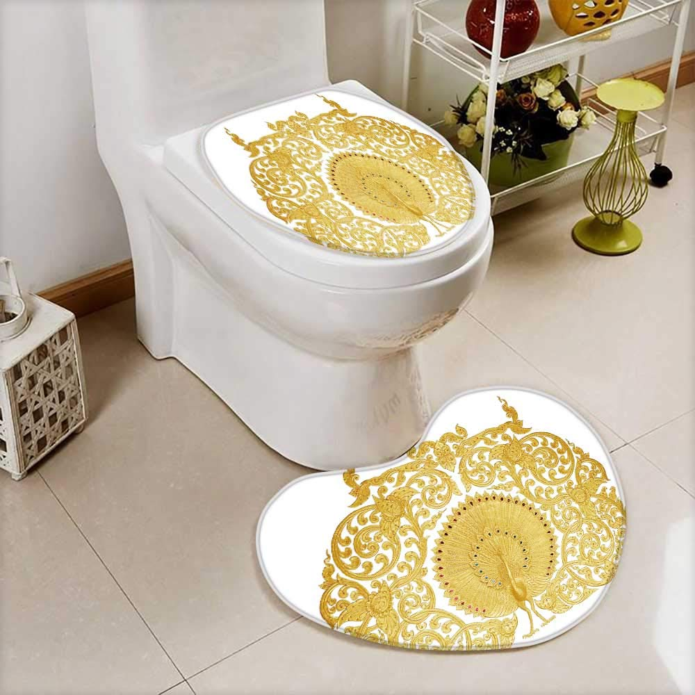 also easy Bathroom Non-Slip Floor Mat ornament of gold plated vintage floral thai art style Cushion Non-slip by also easy