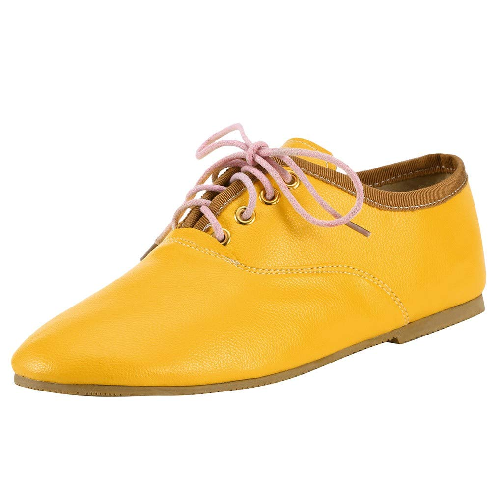 Kauneus Women's Classic Comfortable Perforated Brogue Low Heels Casual Oxford Daily Shoes Multicolor Multi-Code Yellow