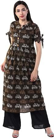 Vihaan Impex Stylish Women Rayon Slub Kurti Three Fourth Sleeve_Brown