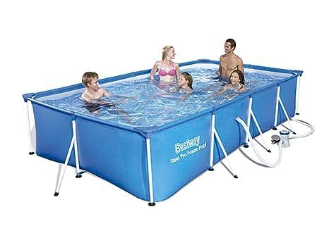 Bestway 56424 - Piscina Desmontable Tubular Infantil Bestway Family Splash Frame Pool (400 x 211 x 81 cm) - Capacidad de 5.700 litros, depuradora de ...