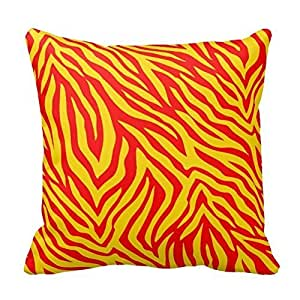 """Red And Yellow Zebra Pillows Square Decorative Throw Pillow Cover Retro 20""""X 20"""" (Twin Sides) Pillowcase Cushion Cover"""