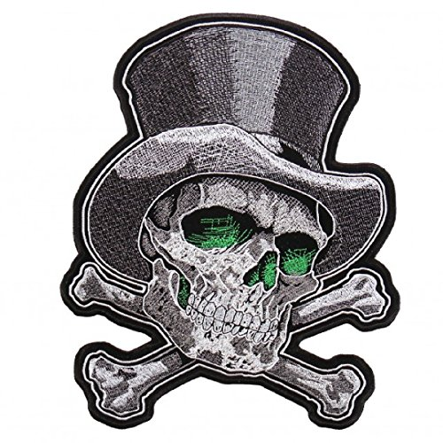 Top Hat Skull Cross Bones Jacket Vest MC Outlaw 4 inch Biker Patch