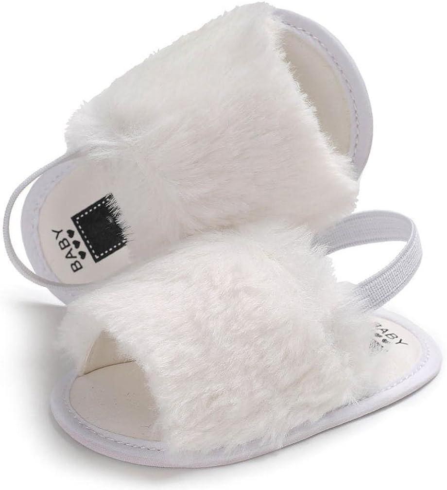 Moonker Newborn Baby Girls Sandal Flock Fur Soft Slide Slip On Flat Sandals Slipper Casual Infant Crib Shoes 3-12M