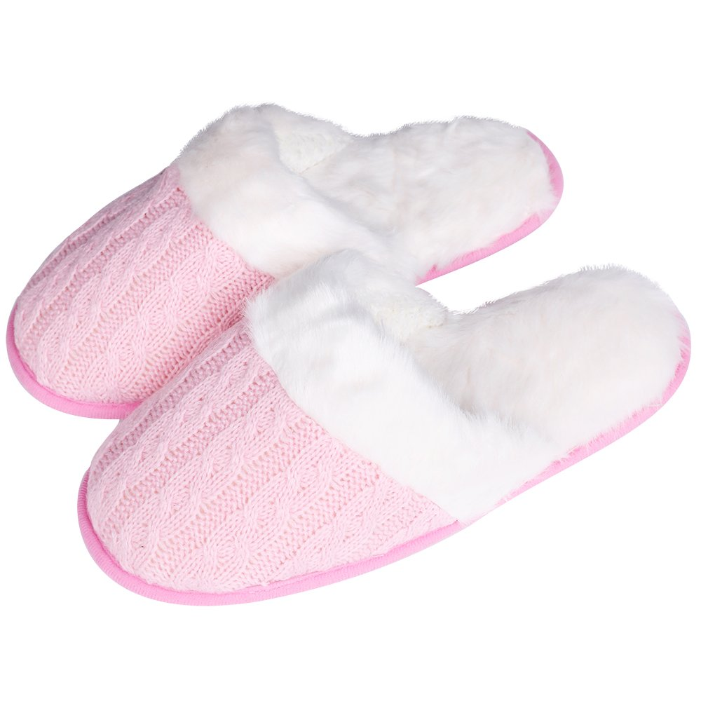 iisutas Women's Comfort Memory Foam Slippers, Wool-Like Plush Fleece Lined House Shoes (Pink/White, M)